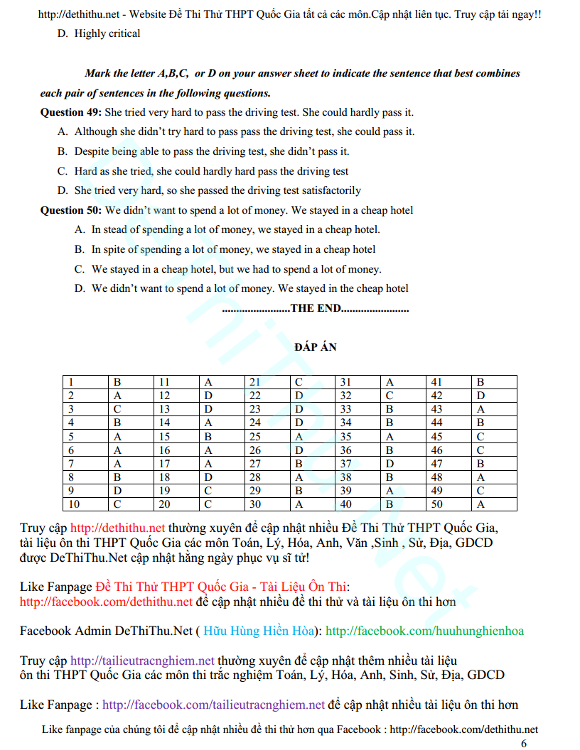 Đáp án đề thi thử 2017 môn Anh THPT chuyên KHTN Hà Nội lần 2